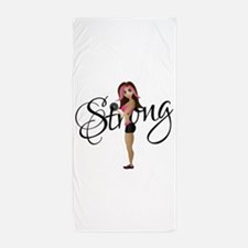 Strong Fit Girl Beach Towel