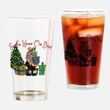 Santa Likes Me Best Drinking Glass