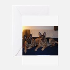 German Shepard on couch Greeting Cards