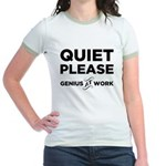 Quiet Please Genius At Work Jr. Ringer T-Shirt