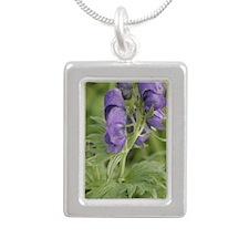 Arctic Lupine Flower Silver Portrait Necklace