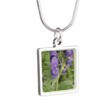 Arctic Lupine Flower Silver Square Necklace