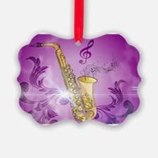 Saxophone with key notes Ornament