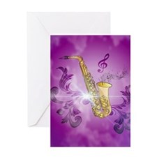 Saxophone with key notes Greeting Cards
