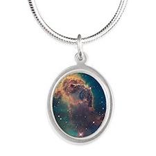 Carina Nebula Silver Oval Necklace