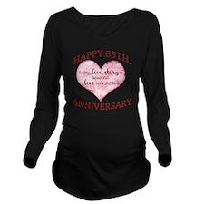 65th. Anniversary Long Sleeve Maternity T-Shirt