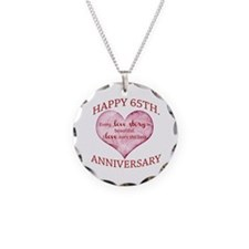 65th. Anniversary Necklace Circle Charm