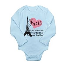 custom add text paris Long Sleeve Infant Bodysuit