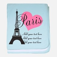 custom add text paris baby blanket