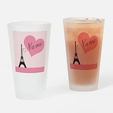 custom add text paris Drinking Glass