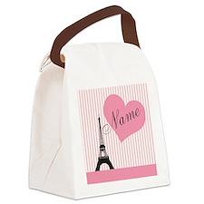 custom add text paris Canvas Lunch Bag