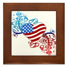 July 4th Heart Scroll Framed Tile