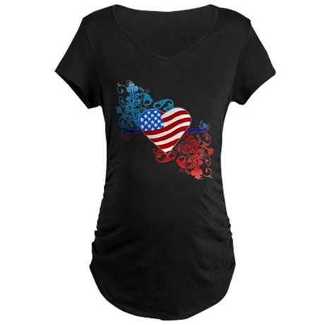 July 4th Heart Scroll Maternity Dark T-Shirt