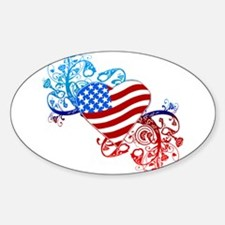 July 4th Heart Scroll Oval Decal