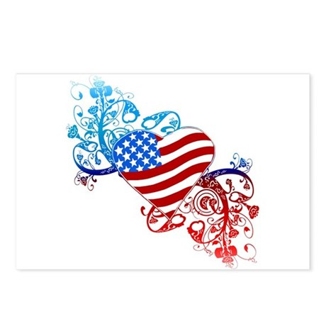 July 4th Heart Scroll Postcards (Package of 8)