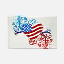 July 4th Heart Scroll Rectangle Magnet