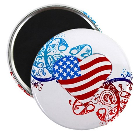 "July 4th Heart Scroll 2.25"" Magnet (100 pack)"