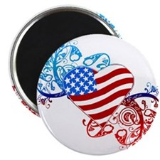 "July 4th Heart Scroll 2.25"" Magnet (10 pack)"