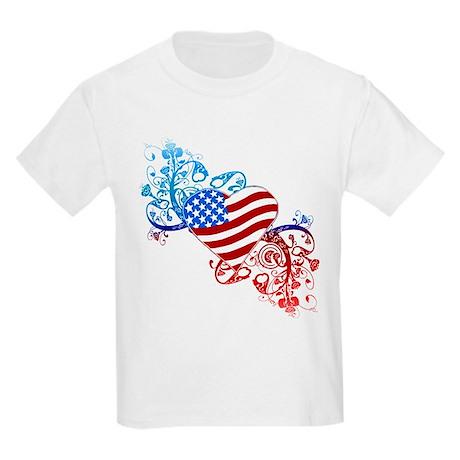July 4th Heart Scroll Kids Light T-Shirt