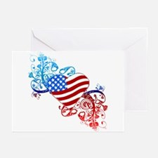 July 4th Heart Scroll Greeting Cards (Pk of 10