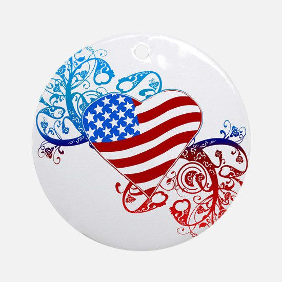 July 4th Heart Scroll Ornament (Round)