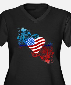 July 4th Heart Scroll Women's Plus Size V-Neck Dar