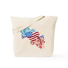 July 4th Heart Scroll Tote Bag