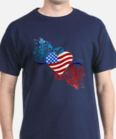 July 4th Heart Scroll T-Shirt