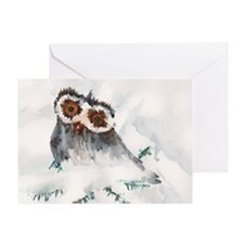 Baby Owl in Snow Greeting Cards