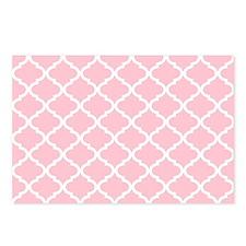 Pink White Quatrefoil Pat Postcards (Package of 8)
