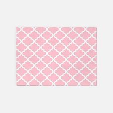 Pink White Quatrefoil Pattern 5'x7'Area Rug