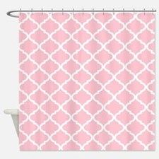Pink White Quatrefoil Pattern Shower Curtain