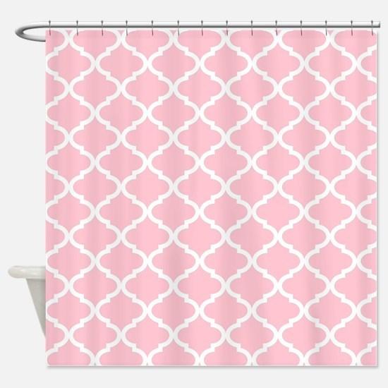 pale pink shower curtain. Pink White Quatrefoil Pattern Shower Curtain Curtains  CafePress