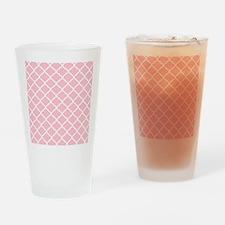 Pink White Quatrefoil Pattern Drinking Glass