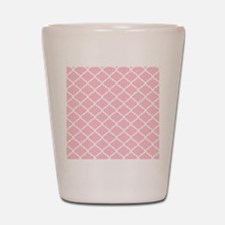 Pink White Quatrefoil Pattern Shot Glass