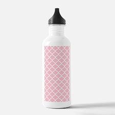 Pink White Quatrefoil Water Bottle