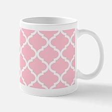 Pink White Quatrefoil Pattern Mug