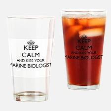 Keep calm and kiss your Marine Biol Drinking Glass