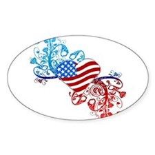 Independence Day Heart Scroll Oval Decal