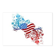 Independence Day Heart Scroll Postcards (Package o