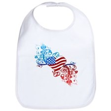 Independence Day Heart Scroll Bib