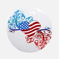 Independence Day Heart Scroll Ornament (Round)