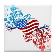 Independence Day Heart Scroll Tile Coaster