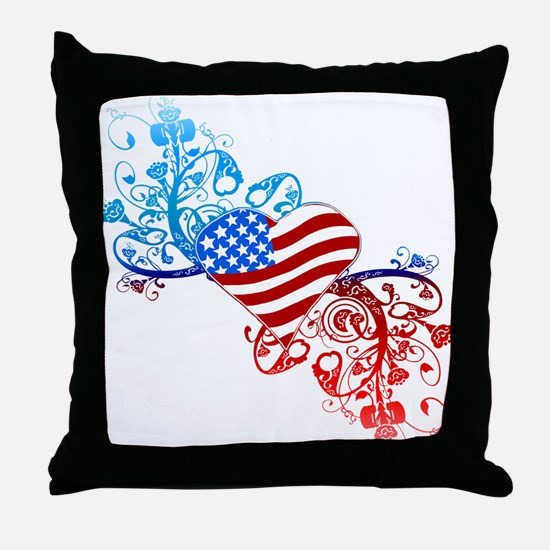 Independence Day Heart Scroll Throw Pillow