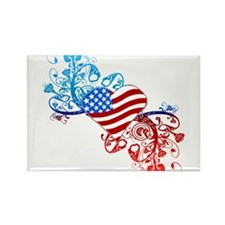 Independence Day Heart Scroll Rectangle Magnet