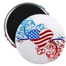"Independence Day Heart Scroll 2.25"" Magnet (10 pac"