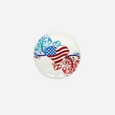Independence Day Heart Scroll Mini Button