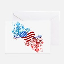 Independence Day Heart Scroll Greeting Cards (Pack