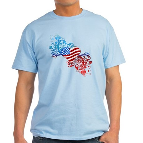 Independence Day Heart Scroll Light T-Shirt