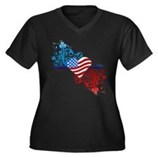 Independence Day Heart Scroll Women's Plus Size V-